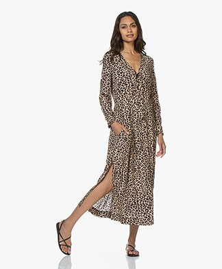 Zadig & Voltaire Roux Leopard Print Viscose Maxi Dress - Naturel
