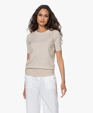 Plein Publique La Femme Pointelle Short Sleeve Pullover - Sand