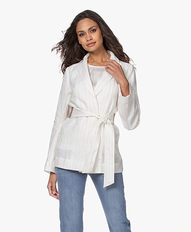 Josephine & Co Bay Linnen Krijtstreep Blazer - Off-white