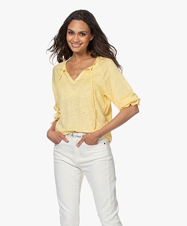 Josephine & Co Blom Linnen Splithals T-shirt - Geel
