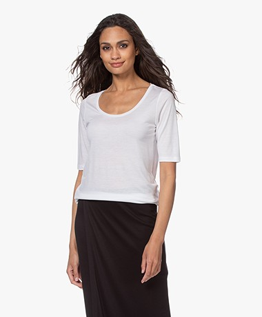 Filippa K Tencel Scoop Neck Tee - Wit