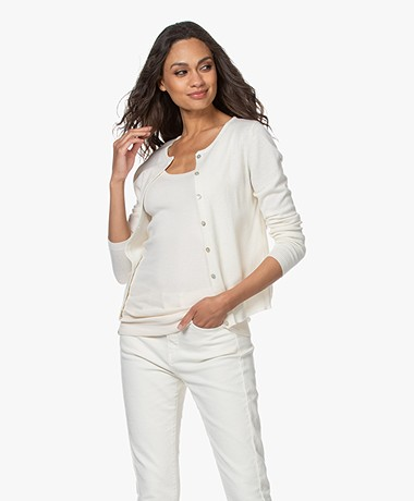 Resort Finest Lucca Basic Cashmere Cardigan - Off-white