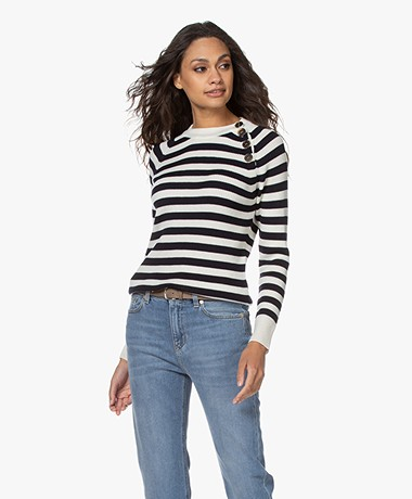 Resort Finest Porto Merino Wool Striped Sweater - Navy