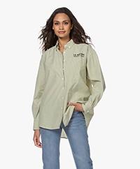 American Vintage Rikwood Gestreept Katoenen Overhemd - Ecru/Groen