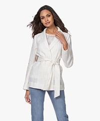Josephine & Co Bay Linen Pinstripe Blazer - Off-white