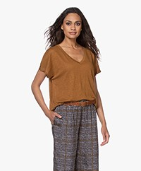 Drykorn Svana Linen V-neck T-shirt - Brown