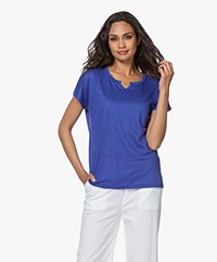 no man's land Linnen Splithals T-shirt - Royal Blue