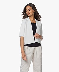 no man's land Short Cotton Cardigan - Light Pearl Grey