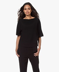 Filippa K Diane Crepe Boat Neck Blouse - Black