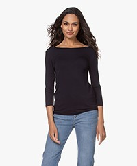 Majestic Filatures Viscose Cropped Sleeve T-shirt - Marine