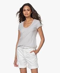 Drykorn Avivi Slub Jersey T-shirt - Lichtgrijs