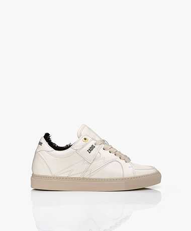 Zadig & Voltaire Board Top Patch Leather Sneakers - Ecru