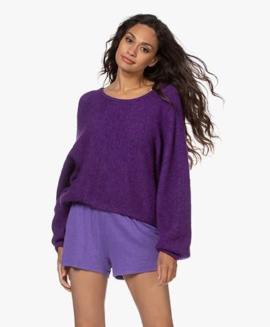 American Vintage East Alpaca Blend Batwing Sweater - Purplish Melange