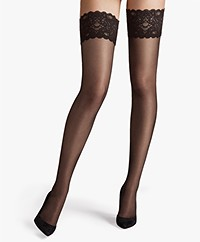 Wolford Satin Touch 20 Stay-Ups - Nearly Black
