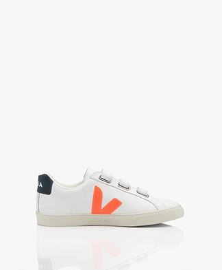VEJA Esplar 3-Lock Logo Leather Sneakers - Extra White/Fluor Orange/Nautico