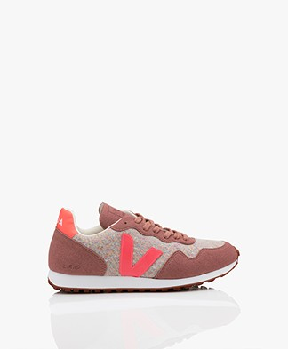 VEJA SDU Rec Flannel Sneakers - Cloudy Rose/Fluo