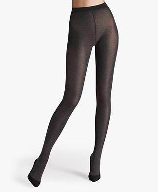 Wolford Cotton Velvet 90 Tights - Black Melange