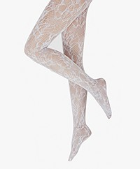Wolford Morgan Floral Lace Tights - White