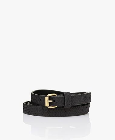 by-bar Julie Snake Leather Belt - Black