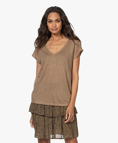by-bar Mila Linnen V-hals T-shirt - Dry Khaki