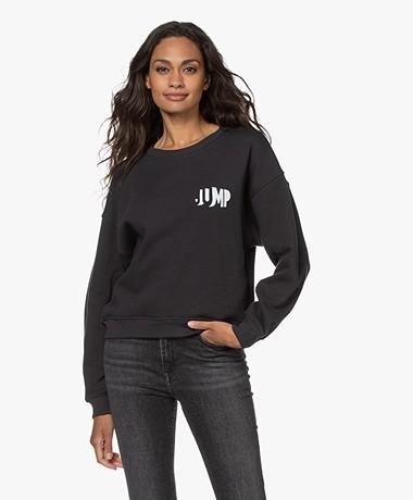 by-bar Roxy Flock Print Sweatshirt - Jet Black