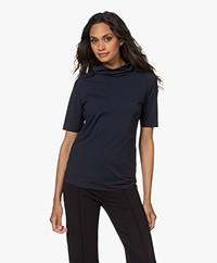 JapanTKY Mutsiko Travel Jersey Turtleneck T-shirt - Black Blue Soft