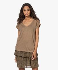 by-bar Mila Linen V-neck T-shirt - Dry Khaki