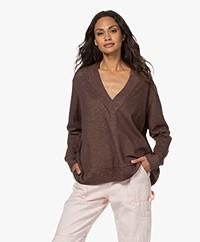 Majestic Filatures V-neck Cotton-Silk Blend Sweatshirt - Chocolat/Boudoir