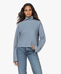 Drykorn Elesa Cropped Cotton Blend Turtleneck Sweater - Dusty Blue