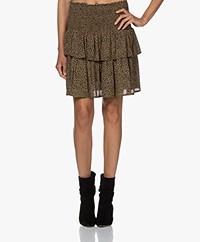 by-bar Ella Smocked Leopard Printed Skirt - Dark Green/Black