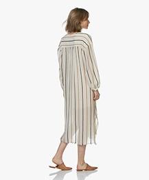 Pomandère Cotton Crepe Striped Dress - Milky White