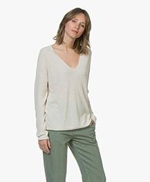 Drykorn Linna Linen Blend V-Neck Rib Sweater - Vanilla