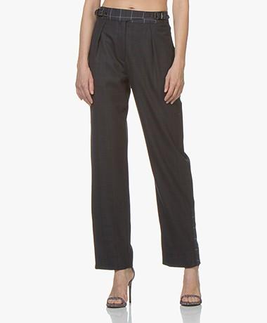 Rag & Bone James Straight Checkered Pants - Dark Blue/Multi