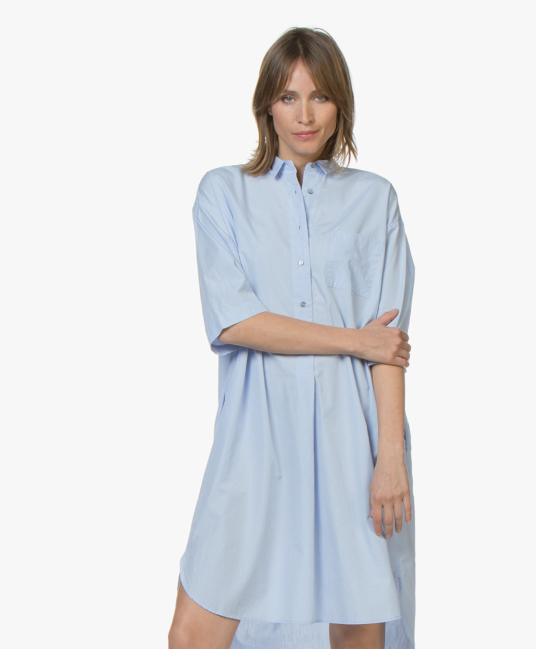 Pomandre Cotton Poplin Shirt Dress Light Blue 191 926310501 82