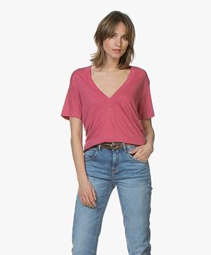 IRO Jahal Linnen T-shirt met Diepe V-hals - Roze