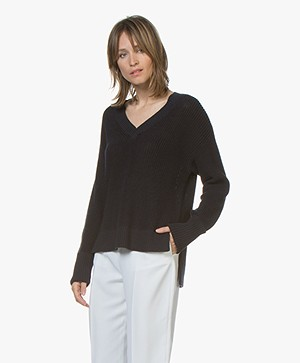 Filippa K Cotton Linen V-Neck Sweater - Navy