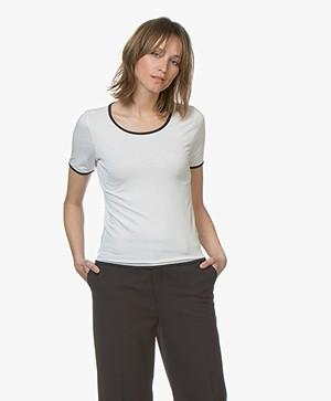 LaSalle Viscose T-Shirt met Contrasterende Details - Panna/Navy