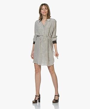 Repeat Pure Silk Striped Shirt Dress - Black