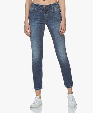 Closed Cropped Worker Jeans - Mid Blue