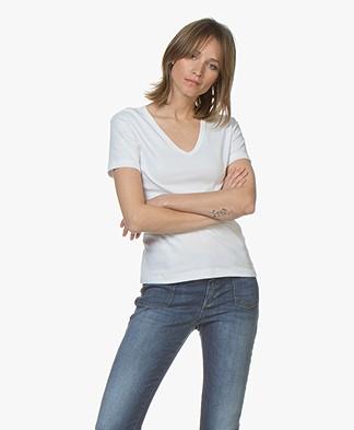 Petit Bateau V-hals T-shirt in Katoen - Wit