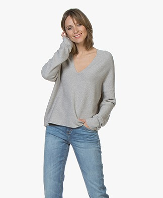 Drykorn Feline Cotton Blend V-Neck Sweater - Light Grey Melange