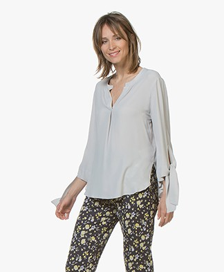 Drykorn Florenia Silk Blend Blouse with Tie Cuffs - Light Grey