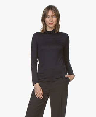 Filippa K Tencel Polo Neck Top - Navy