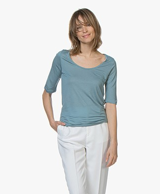 Filippa K Tencel Scoop Neck Tee - Kingfisher
