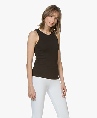 Drykorn Evada Round Neck Rib Tank Top - Black