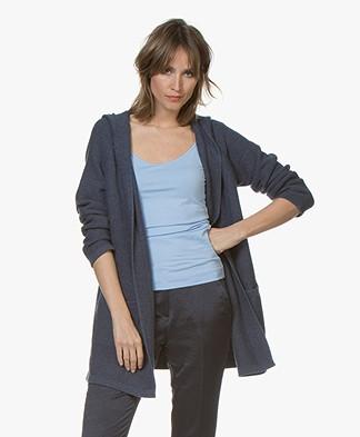 Repeat Half Long Open Hooded Cardigan - Denim Blue