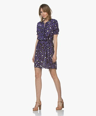Josephine & Co Chase Leopard Print Shirt Dress - Purple