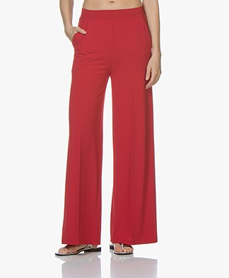 La Salle Wide Crepe Jersey Pants - Red