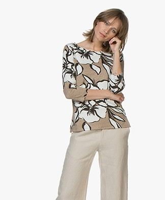 Majestic Filatures Linen Print T-shirt - Ficelle