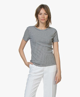 Petit Bateau Gestreept T-Shirt met Ronde Hals - Smoking/Lait